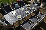 bomey Essgruppe Neapel XL in Grau I 9-teilige Garnitur I Rattan-Sessel Set bestehend aus 8 Sesseln und einem verlängerbaren Tisch auf 305 cm I Polstern in Grau I Für Garten + Terrasse +...