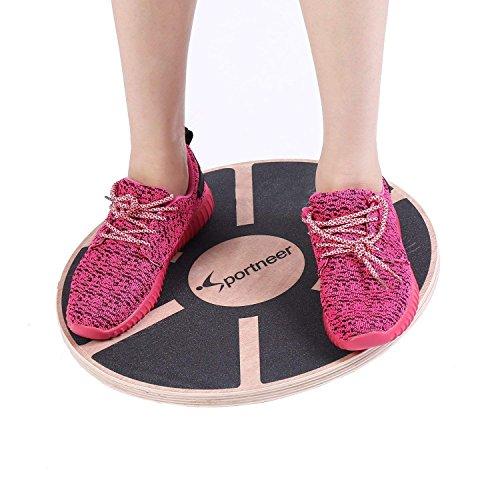 Sportneer® Plateau d'équilibre/Planche de thérapie/Balance Board/Coussin D'équilibre Professionel en Bois pour l'exercice, Gym, Sport Performance Enhancement, Rehab, Formation