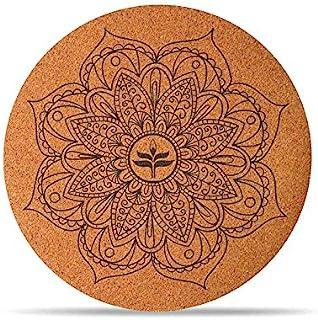 Round Yoga Mat/Foldable Meditation Mat, Rubber Non-Slip Carpet, Doormat - for Men and Woman, Diameter 65cm (Perfect Gift),B