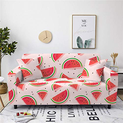 Stretch Sofa Couch Covers Elastic Fabric Cartoon Watermelon Fruit Pattern Universal Fitted Armchair Loveseat Settee Slipcover Durable Furniture Protector Home Decor,2,Seat 145,185cm