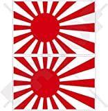 JAPAN Japanese Rising Sun Flag, JMSDF Japan Maritime Self-Defence Force 3' (75mm) Vinyl Bumper Stickers, Decals x2