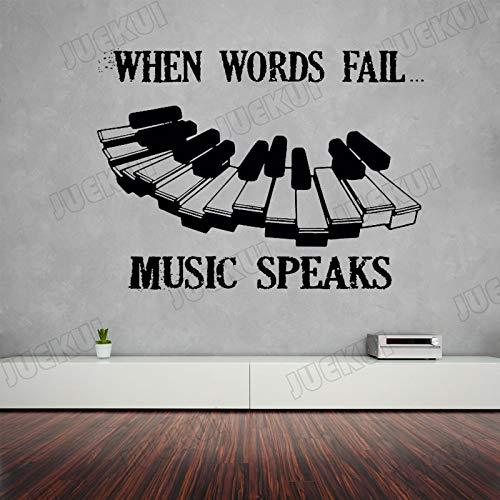 JXWH 111X80cm Muziek Spreekt Piano Toetsenbord Lettering Citaten Verwijderbare Muurstickers voor Muziek Kamer Achtergrond Home Decor Vinyl Art Murals