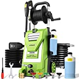 mrliance 3800PSI Electric Pressure Washer 3GPM Power Washer 2000W High Power Cleaner with Hose Reel, 5 Adjustable Nozzles, Soap Bottle for Car, Home, Garden