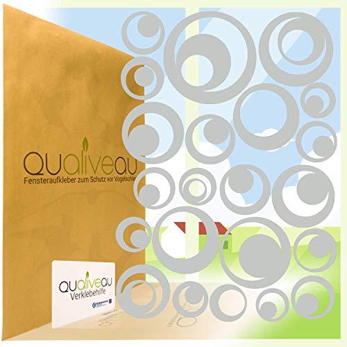 Qualiveau® 22 Retro Kreise Aufkleber zum Schutz vor Vogelschlag | Komplett – Set mit Verklebehilfe | Farbe: Hellgrau