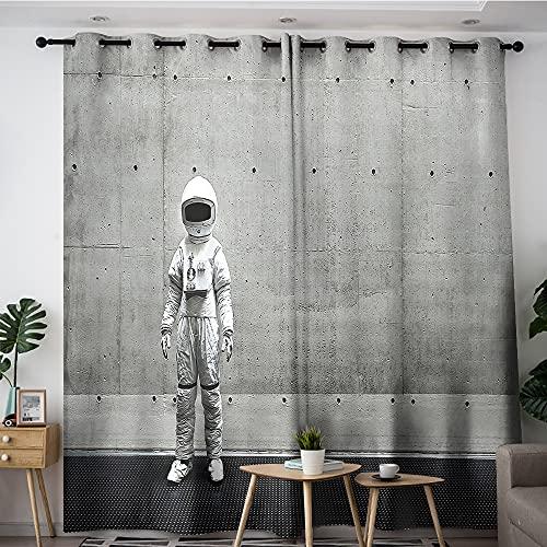 Cortinas opacas de pared blanca astronauta sala de estar cortina para dormitorio 137 x 183 cm