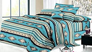 Rustic Western Southwest Native American Design 4 Piece Sheet Set Navajo Print Multicolor Ivory Beige Turquoise Blue and Black 17426 Full Turquoise Sheet Set