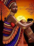Tucocoo African Woman Sunset Backround DIY Kits 5D Diamond Painting Kits for Adults Dusk African American Wall Art Bizarre Diamond Art Kits Rhinestones Painting House Decor 12x16 Inch