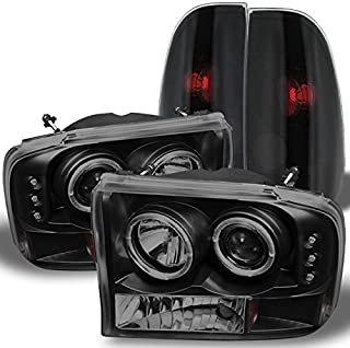 For Black Smoked Ford 1999-2004 F250 F350 F450 F550 Superduty Dual Halo Projector LED Headlights + Tail Light Lamp