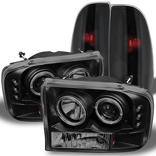 For Black Smoked Ford 1999-2004 F250 F350 F450 F550 Superduty Dual Halo...