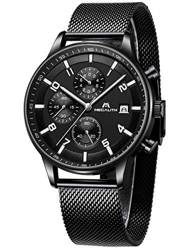 Herren Uhren Manner Militär Wasserdicht Sport Chronographen Schwarz Edelstahl Mesh Armbanduhr Mann Mode Leuchtende Analoge Datum Uhr