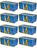 Klickpick Home Heavy Duty Reusable Extra Large Storage Bags -Pack of 8,Laundry Bag Shopping Moving Totes Bags Underbed Storage Bins Zipper -Backpack Handles,Compatible with IKEA FRAKTA CART- Blue