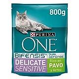 PURINA ONE Bifensis Pienso para Gatos con la Digestión Sensible Salmón y Cereales 8 x 800 g