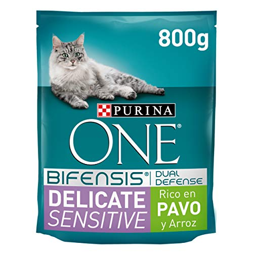 Purina ONE Bifensis Pienso para gatos con la Digestión Sensible, pavo y arroz 8 x 800 g