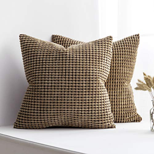MIULEE Pack of 2 Decorative Throw Pillow Covers Soft Corduroy Solid Cushion Case Brown Pillow Cases for Couch Sofa Bedroom Car 18 x 18 Inch 45 x 45 cm