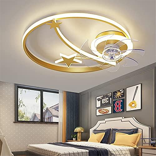 Ventilador De Techo 2 En 1 Con Lámpara Luz De Techo Para Habitación Infantil, 46W Regulable Con Control Remoto/APP, Fan Silencioso De 3 Velocidade Para Dormitorio Comedor Araña De Estrella,Oro