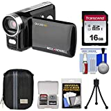 Bell & Howell DV200HD HD Video Camera Camcorder with Built-in Video Light (Black) with 16GB Card + Case + Mini Tripod + Accessory Kit