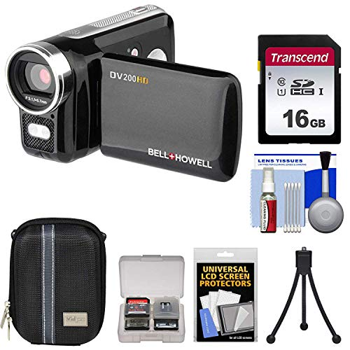 bell howell cheap camcorders Bell & Howell DV200HD HD Video Camera Camcorder with Built-in Video Light (Black) with 16GB Card + Case + Mini Tripod + Accessory Kit