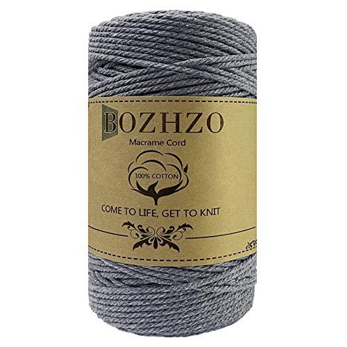 BOZHZO Makramee Garn, 3mm x 200m Kordel, Baumwollgarn Baumwollkordel 100% Naturliches Baumwolle Super für Anfänger, Gartenarbeit, Kochen, Basteln und Mehr DIY Dekoration (Grau)