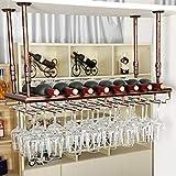 XWZJY Estante de Hierro para Colgar en la Copa de Vino, Debajo del gabinete, Estante para Tazas, Copas de champán, Soporte para Vasos, sin bamboleo, para Cocina, Restaurante, cafetería (Negro/Bronce)