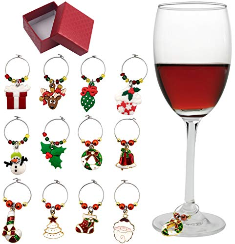 12 Piece Holiday Themed Christmas Wine Glass Charms Wine Tasting Party Decoration Supplies Gift Box Set Golden