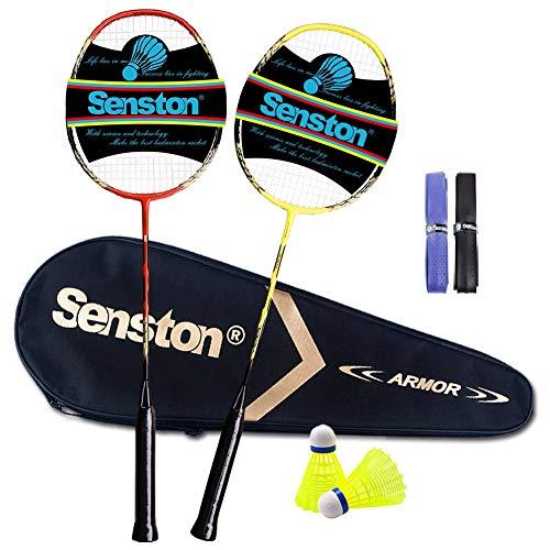 Senston Ensemble de Raquettes de Badminton à 2 Joueurs, Raquette de Badminton à Manche en Graphite - Comprenant 1 Sac de Badminton / 2 Raquettes / 2 Surgrips