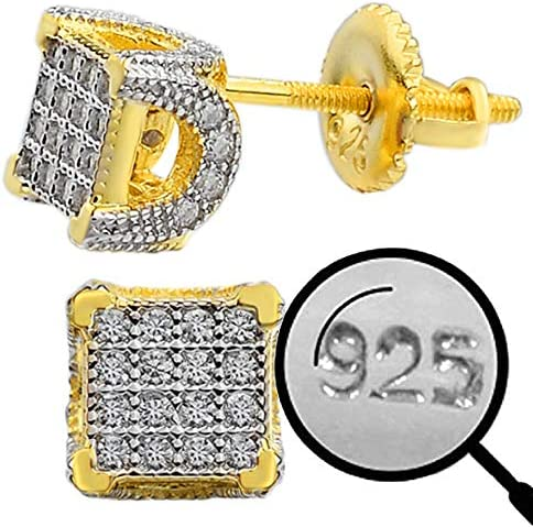 Real Solid 925 Sterling Silver Small Men s Earrings 14k Yellow Gold Plated Iced CZ 1 4 Cube product image