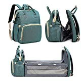 Mural Wall Art 3 in 1 Diaper Bag Backpack Changing Station - Portable Baby Nursery Travel Bed Bassinet - Foldable Travel Crib Infant Sleeper Baby Nest with Insulated Bottle Wipe Pockets