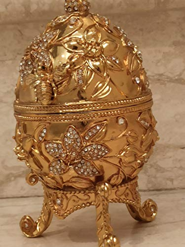 24k GOLD Faberge Collectors Egg Pomegranate Jewelry box Pomagrant GOODLuck...