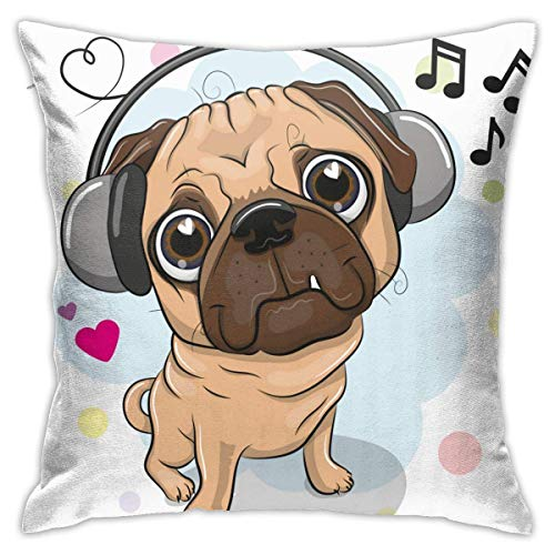 Fundas de almohada, diseño de perro carlino con auriculares, 45 x 45 cm