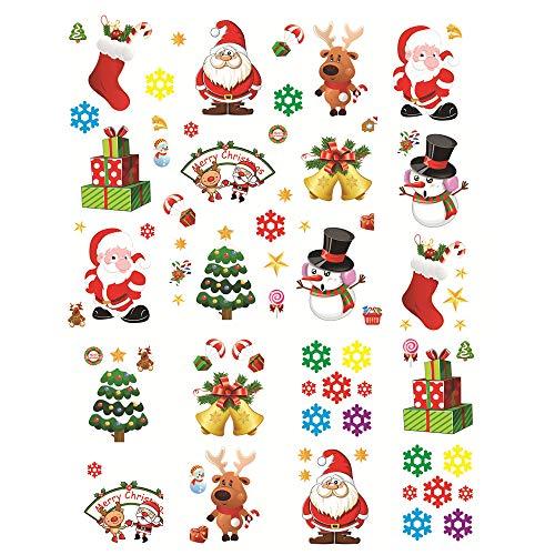 MEJOSER 20pc(10Muster) Weihnachten Fensteraufkleber PVC Fenstersticker Weihnachten Fensterbilder Selbstklebend Weihnachtssticker Tür Aufkleber WandtatttooFensterdeko Weihnachtsdeko