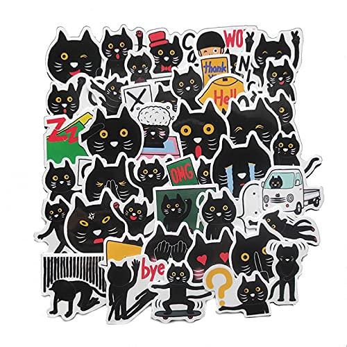 Cute Cartoon Little Black Cat Emoji Bag Casco Cuenta de Mano Equipaje Guitarra Etiqueta engomada del Coche 40 Piezas