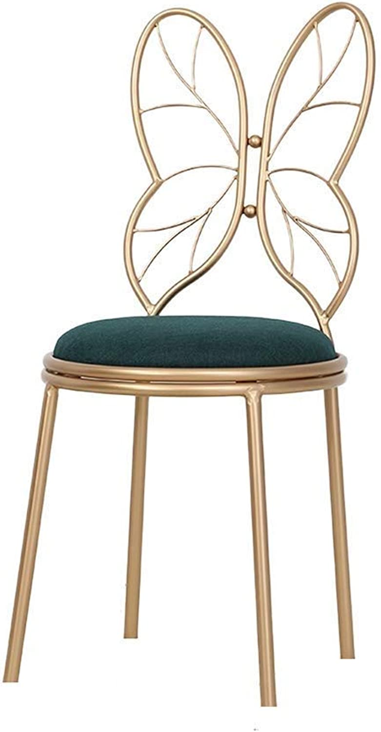 Nordic Butterfly Chair Bar Chair Breakfast Chair High Stool Backrest for Family Coffee Shop Kitchen Multi color Optional (color   C)
