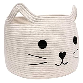 HiChen Large Woven Cotton Rope Storage Basket Laundry Basket Organizer for Towels Blanket Toys Clothes Gifts | Pet Gift Basket for Cat Dog - 15.7  L×11.8  H