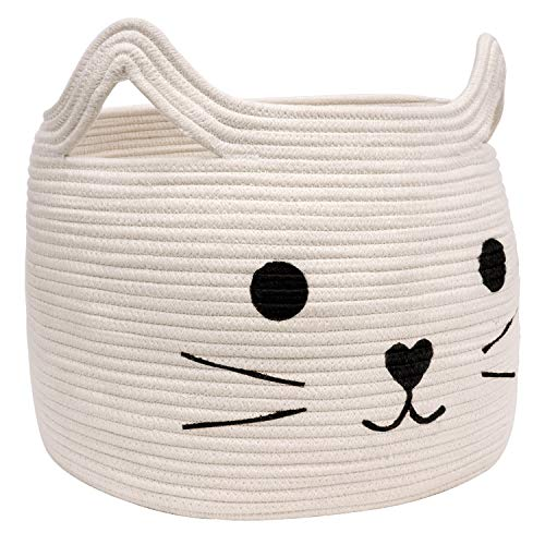 "HiChen Large Woven Cotton Rope Storage Basket, Laundry Basket Organizer for Towels, Blanket, Toys, Clothes, Gifts | Pet Gift Basket for Cat, Dog - 15.7"" L×11.8"" H"