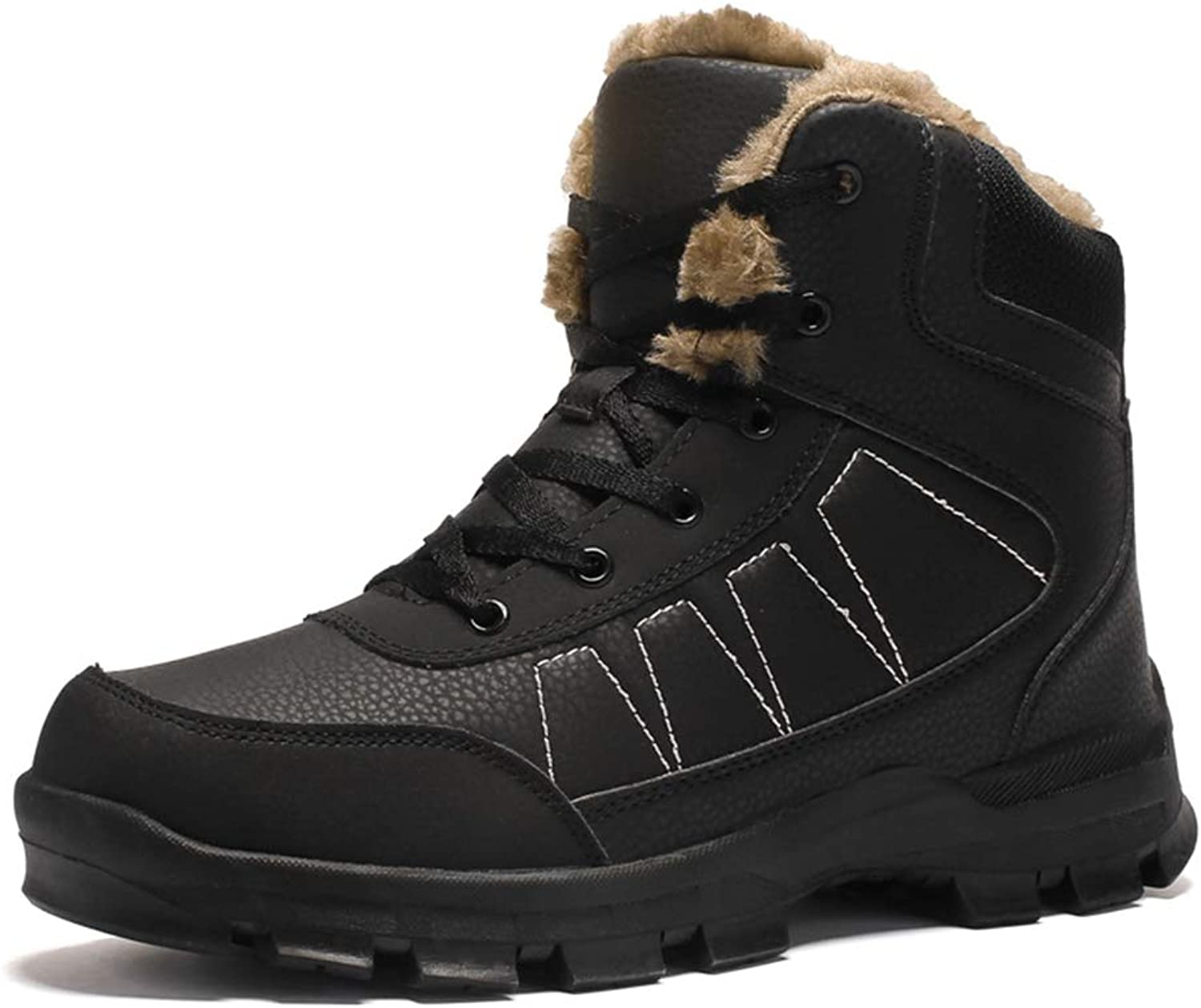 COSDN Mens Snow Waterproof Outdoor Boots Fur Lined Winter Warm shoes Ankle Booties High Top Hiking Sneakers