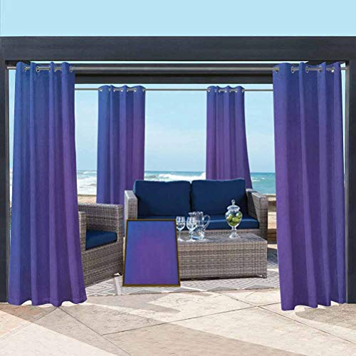 ParadiseDecor Indigo Shade Screen Outdoor Patio Curtain Panel Ombre Vivid Colored Image with Purple Pink Seem Shadow Detail Art Print Dark Blue and Purple 76W x 108L Inch