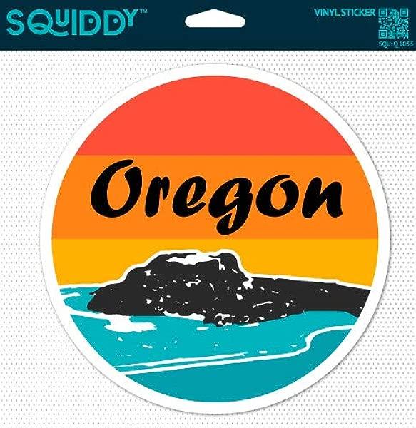 Squiddy Oregon Surf Ocean Beach Round Vinyl Sticker Decal For Phone Laptop Water Bottle 2 5 Wide