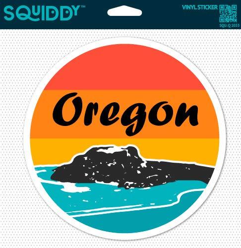 Squiddy Oregon Surf Ocean Beach Round - Vinyl Sticker Decal for Phone, Laptop, Water Bottle (2.5' Wide)