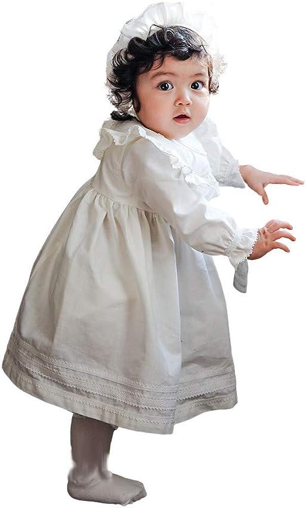 Petite JR Set of 2 Baby Girl's Organic Cotton Christening Dress Set 0-3month White