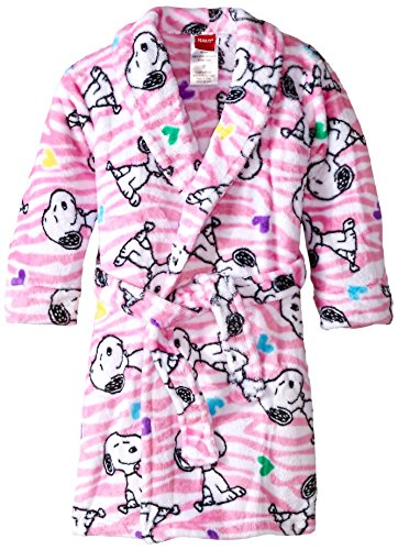 Peanuts Little Girls' Peanuts Velvet Fleece Robe, White, 2T