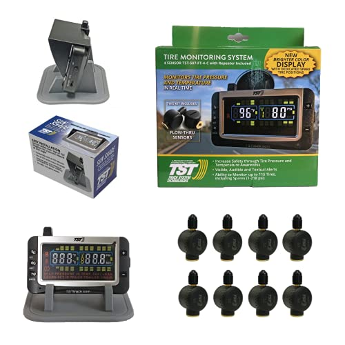 Truck System Technologies - TST 507 RV TPMS with Color Display - Tire Pressure Monitoring System for RVs, Campers & Trailers - Flow Thru Sensor Kit - Includes TST Monitor Sunshade - 8 Sensor TPMS Kit