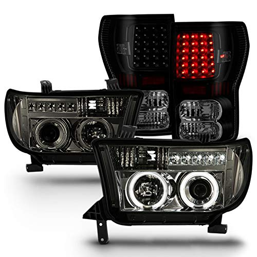 For Toyota Tundra Smoke Dual Halo Ring Projector LED Replacement Headlights + Black Smoke LED Tail Lamps