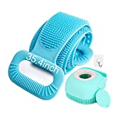 CUUWE Back Scrubber for Shower Exfoliating Silicone Body Scrubber with Hair Scalp Massager Shampoo Brush 2020 Updated Lengthen 35.4' Silicone Body Brush Easy to Clean (Blue)