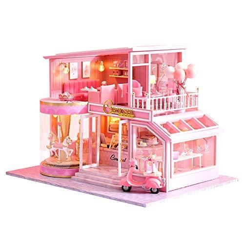 XMSIA Puppenhäuser DIY Plus-Staub-Beweis-Geburtstags-Geschenke Kreative Raum for romantische Kunst-Geschenk-Rosa Puppenhaus Miniatur mit Möbeln Das Beste Geburtstagsgeschenk mit LED, Unisex