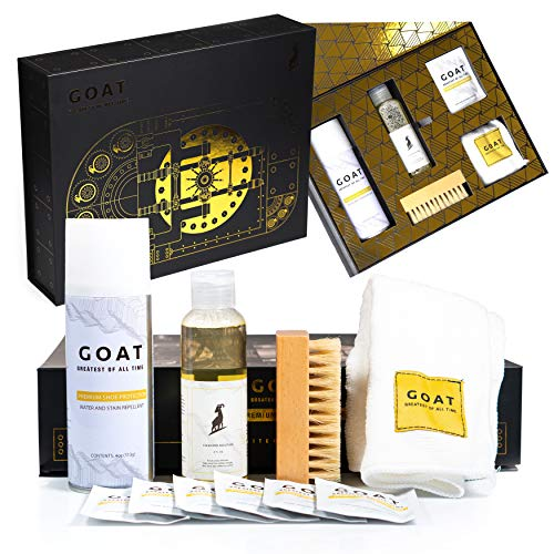 GOAT SHIELD Premium Shoe Cleaning Kit Limited Edition Vault Gift Box - Comes with Shoe Protector Spray, Sneaker Cleaner Solution + Brush, Microfiber Towel, Sneaker Wipes