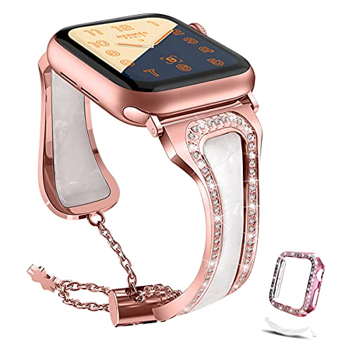 Compatible with Apple Watch Band 38mm 40mm 42mm 44mm + Case, Womens adjustable Metal Lightweight Resin Rhinestone Wristband with Glitter Bumpe TPU Protector Case for iWatch Series 6/5/4/3/2/1