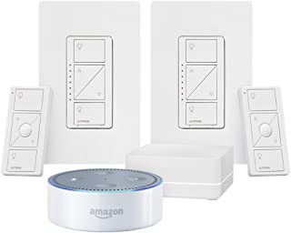 White Echo Dot + Caseta Wireless Deluxe Smart Lighting Control Kit