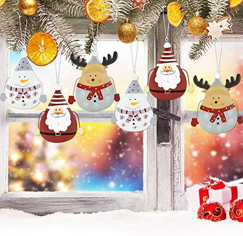 PERFETSELL Weihnachtsanhänger Weihnachtsdeko 6 Stück Metall Christbaumanhänger Weihnachtsmann, Schneemann und Elch Mustern Weihnachten Anhänger Weihnachtsbaum Deko Anhänger Weihnachtsbaumschmuck