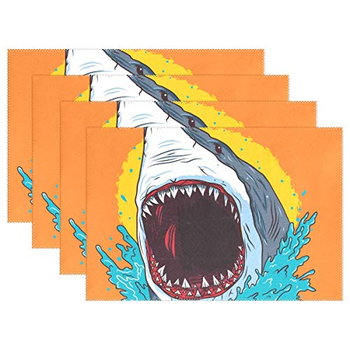 Promini Heat-Resistant Placemats, Cartoon Shark Washable Polyester Table Mats Non Slip Washable Placemats for Kitchen Dining Room Set of 4