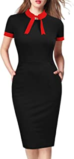 WOOSEA Womens Short Sleeve Colorblock Slim Bodycon Business Pencil Dress